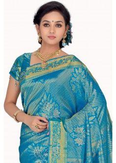 Blue Zari weaved & Stone worked pure silk saree -SR7449