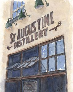 St. Augustine Distillery/Ice Plant Bar & Restaurant Watercolor and Pen by WatercolorsbyLiz.  Vintage building.