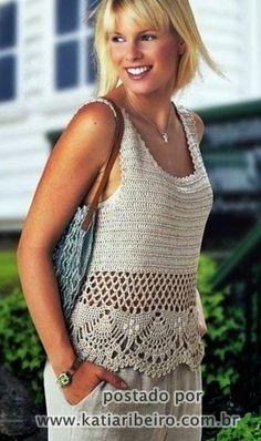 Regata em crochê com gráfico do ponto - Katia Ribeiro Crochê Moda e Decoração Handmade