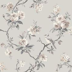 Chinoiserie Bird Wallpaper - Grey - FD40764