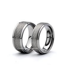 Brushed Tungsten Wedding Ring Tungsten Matching Set Mens Women's Rings Sets 8mm 6mm