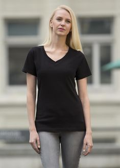 The Authentic T-Shirt Company Eurospun V-Neck Ladies' Tee T Shirt Company, Tees, Shirts, V Neck, Stylish, Lady, Women, Fashion, Moda