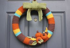 Fall Crochet Wreath.... I'm going to make this... although I'm pretty sure I'm going to need some assistance!