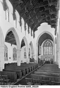 Interior from south west. St Wendredas Church, Church Street, March, Cambridgeshire Date 29 Aug 1968 Historical Images, March, England, Street, Building, Interior, Indoor, Buildings, Interiors