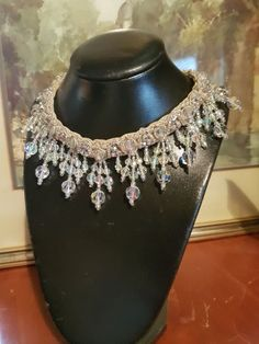 Buy Ultra Rare Aurora Borealis Lina Baretti Demi Parure ~ Crystal Collar Necklace with Matching Earrings for R5,000.00