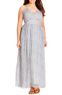 City Chic Metallic Plait Trim Stripe Maxi Dress (Plus Size) | Nordstrom