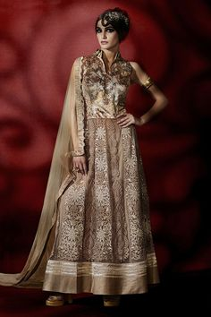 Show details for Chinese collar neck style brown color anarkali suit