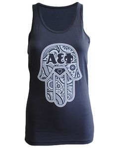 """Alpha Epsilon Phi Hamsa Tank Adam Block Design - Use code """"fsuKL1001"""" for 10% off your first order and 5% off every order after!"""