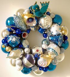 vintage Christmas ornaments wreath ~ blue ~ gold ~ silver