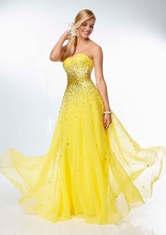 Ombre prom dress! - Night Moves 6600 - Yellow Strapless Sweetheart ...