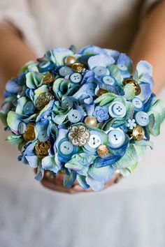 Hey, I found this really awesome Etsy listing at https://www.etsy.com/listing/182269943/blue-and-gold-flower-and-button-bouquet