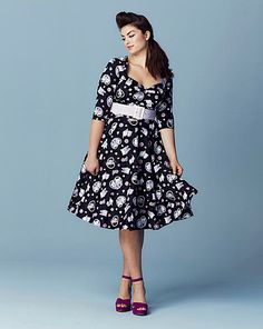Hell Bunny Print Sweetheart Neck Dress | Simply Be