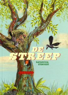 De streep - Natascha Stenvert - Zoekboek - Twee vogeltjes wonen met veel plezier in hun boom, tot op een dag een man een grote streep op hun boom zet. Wat heeft dit te betekenen? Wordt de boom gekapt? Met overgave vertelt Natascha Stenvert het verhaal van een bedreigd nest, de vier seizoenen en een bos. Zie je die Alpinisten niet? En de ruïne die wordt opgeknapt? Er valt een hoop te kijken en te volgen in dit woordeloze boek.