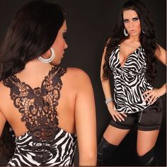 BNWT LADIES ZEBRA PRINT CROCHET BACK EMBROIDERED V-NECK PARTY TOP UK 8 / 10 £17.99 CAN BE ORDERED HERE: http://www.ebay.co.uk/itm/BNWT-LADIES-ZEBRA-PRINT-CROCHET-BACK-EMBROIDERED-V-NECK-PARTY-TOP-UK-8-10-/351278412491?hash=item51c9d332cb