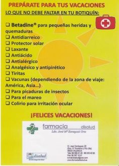 Consejos Betadine para #BOTIQUÍN de VACACIONES.  #TIPS FOR RENTAL KIT YOU.  -Más info: https://www.facebook.com/DiSaludGrupoenValencia