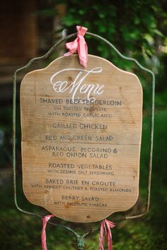 I like this idea instead of a chalkboard and in lieu of printed menus