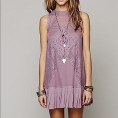 57e618eacac35 Free People Fp One Angel Lace Dress Tunic Shift Purple Lace