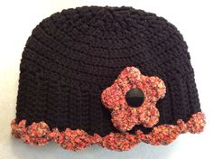 Lady's Winter Hat Size- adult Hand crochet in a smoke & pet free environment Acrylic yarn, & 1 button on flower Handmade in Oregon Free Crochet, Crochet Hats, Ski Hats, Winter Hats For Women, Handmade Items, Handmade Gifts, Really Cool Stuff, Crochet Patterns, Beanies