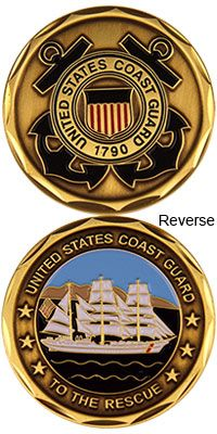 August - U. Coast Guard Day honors the military branch that protects our w. - Coin's a round the world - Home Crafts Coast Guard Auxiliary, Us Coast Guard, Coast Gaurd, Navy Rings, Military Challenge Coins, Military Branches, Military Insignia, Home Crafts, Easy Crafts