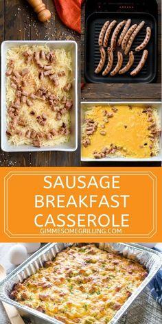 Hashbrown Breakfast Casserole, Sausage Breakfast, Sausage Casserole, Breakfast Quiche, Casserole Dishes, Casserole Recipes, Egg Recipes For Breakfast, Breakfast Dishes, Brunch Recipes