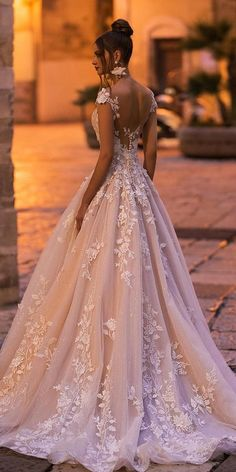 Color Trend: 18 Blush Wedding Dresses You Must See ❤ blush wedding dresses a line lace romantic naviblue ❤ #weddingdresses #weddingoutfit #bridaloutfit #weddinggown