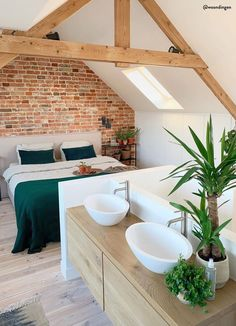 Here are the 12 Design Tips to Make a Small Bathroom Better Tropical Interior, Budget Home Decorating, Attic Rooms, Dream Apartment, Bedroom Loft, Discount Furniture, Furniture Online, Beautiful Interiors, Sweet Home