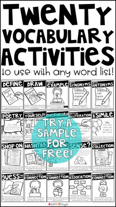 This is a set of twenty different activities that you can use with any vocabulary word with students in grades kindergarten first grade second grade third grade fourth gr. Spelling Activities, Vocabulary Activities, Reading Activities, Teaching Reading, Learning, Kindergarten Vocabulary, Teaching Spanish, Spanish Lessons, Word Study Activities