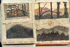 sketches - Gwen Diehn/ Real Life Journals: Mountain Viewing from Inside/Outside -