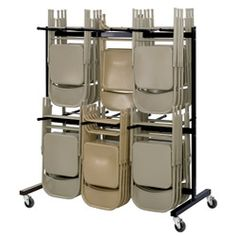 Hanging Folding Chair and Table Storage and Transport Cart Holds