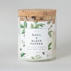 Poured in Brooklyn, New York this botanically blended candle beautifully burns with a wooden wick and a strongly scented soy wax blend. It burns bright for 60+ hours. Fresh cut basil leaves are mixed More