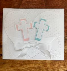 Boy and girl twins baptism christening handmade card