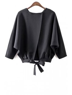 Black Solid Three Regular Boat Casual Batwing Sleeve Tie Back Blouse
