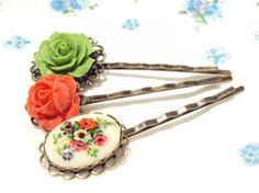 Flower Hair Pin Set  Bobby Pin  Whimsical  Bridal by NestingPretty, $14.00