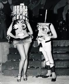 Two men use to dress up like this for a community talent show.   For a kid, thry looked like real live cartoon characters.  Vintage halloween costumes