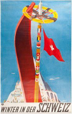 Winter in der Schweiz, Travel Poster