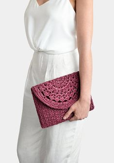 Best 11 Crochet raffia clutch bag, handcrafted with care. Fully lined with thick cotton blend fabric, closes with bronze metal magnetic button. Optional crochet shoulder strap available upon request. COLOR: Here shown in Plum Red Crochet Clutch Bags, Bag Crochet, Crochet Handbags, Crochet Purses, Crochet Lace, Crochet Summer, Single Crochet Stitch, Basic Crochet Stitches, Crochet Basics