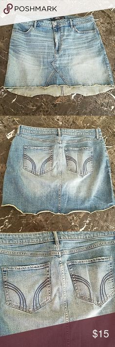 Hollister 5 Pocket Skirt Cool Hollister 5 Pocket Jean Skirt! Like New, distressed condition. Size 13. Hollister Skirts