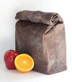 Waxed Canvas Lunch bag- Brown Canvas with Blue Cotton Lining - Natural, Food Safe, Reusable Waxed Canvas Lunch Bag for Men and Women