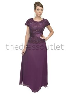 e7ef8c97625be Formal Short Sleeve Mother of the Bride Long Dress Plus Size - The Dress  Outlet -