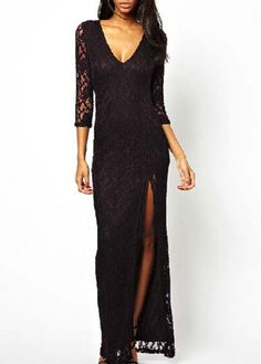 Glamorous Slit Design Three Quarter Sleeve Dress Black