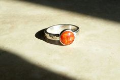 Apple Coral Ring in Hammered Sterling, size 6.5. by CatsCreationsLLC on Etsy