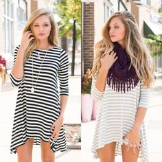Stripe t shirt dresses! #swoonboutique