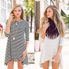 Stripe t shirt dresses! #swoonboutique