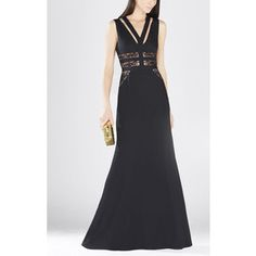 BCBGMAXAZRIA Emyli Lace-Blocked V-Neck Dress