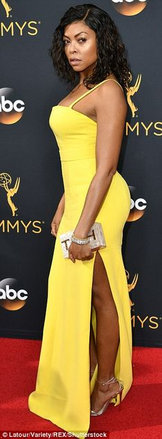 Mellow yellow: Empire actress Taraji P. Henson was a ray of sunshine in her bright yellow Vera Wang gown