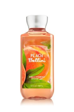 Peach Bellini - Shower Gel - Signature Collection - Bath & Body Works - Wash your way to softer, cleaner skin with a rich, bubbly lather bursting with fragrance. Moisturizing Aloe and Vitamin E combine with skin-loving Shea Butter in our most irresistible, beautifully fragranced formula!