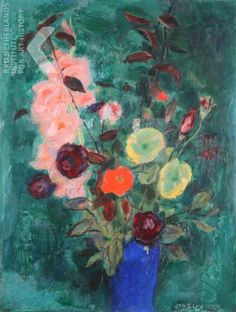 Jan Sluijters (Dutch, 1881-1957)  - Mixed bouquet in blue vase against dark green background