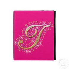 iPad Folio Cse with Initial I Ipad 1, Ipad Case, Initials, Diamonds, Cover, Pink, Gold, Diamond, Pink Hair