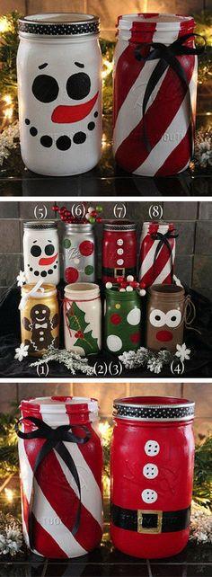 Hand painted Christmas mason jars! Holiday Mason Jars - Snowman Jar - Santa Jar - Reindeer Jar - Gingerbread Man Jar - Santa Clause decor, Christmas decor, Rustic Christmas, Farmhouse Christmas gift #ad