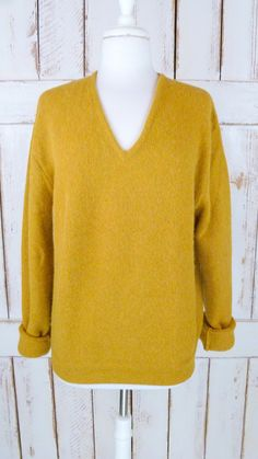 Mustard yellow Alpaca knit vintage boyfriend by GreenCanyonRoad, $45.00